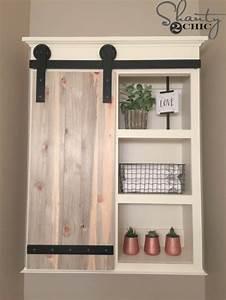 31 brilliant diy decor ideas for your bathroom With barn door style medicine cabinet