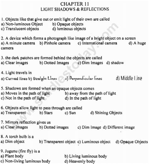 cbse class 6 science light shadows and reflections mcqs choice questions for science
