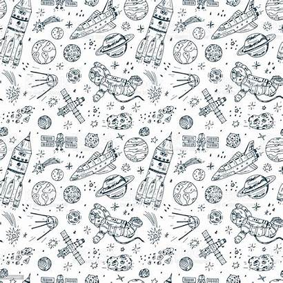 Doodle Space Drawn Hand Pattern Vector Seamless