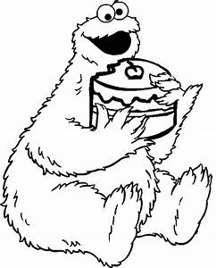Cookie monster coloring pages eating cake - ColoringStar