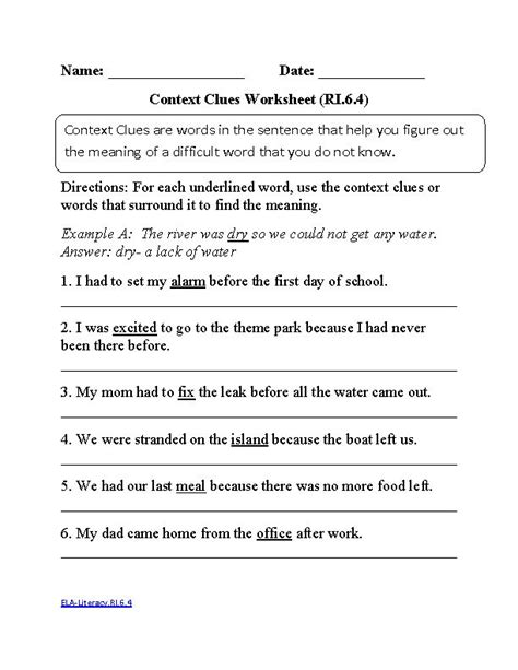 6th Grade Common Core  Reading Informational Text Worksheets  Ela And Math Common Core