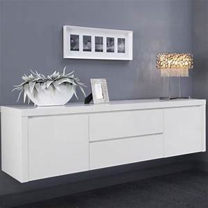 buffet bahut suspendu blanc laque design tyler achat With salle À manger contemporaineavec buffet original meuble