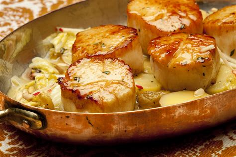 seared scallops  savoy cabbage fingerling potatoes