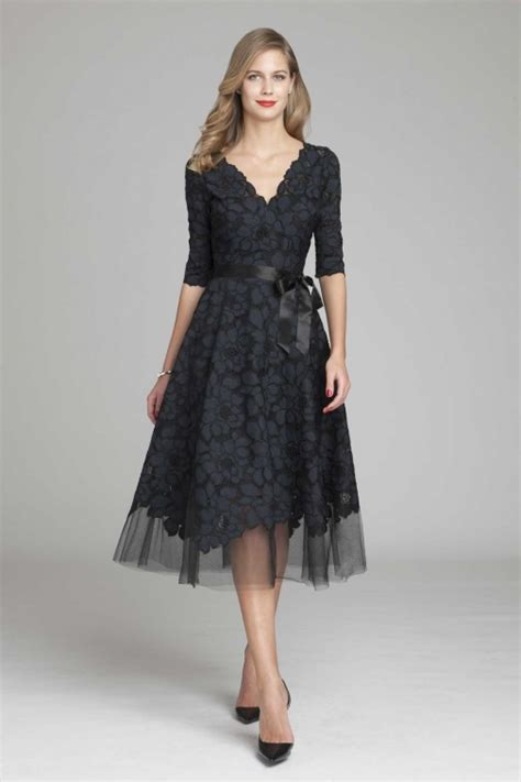 black dress wedding guest a line v neck half sleeve lace tea length lace wedding guest dresses