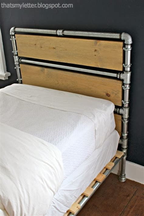headboard that s my letter diy pipe wood slats bed Industrial