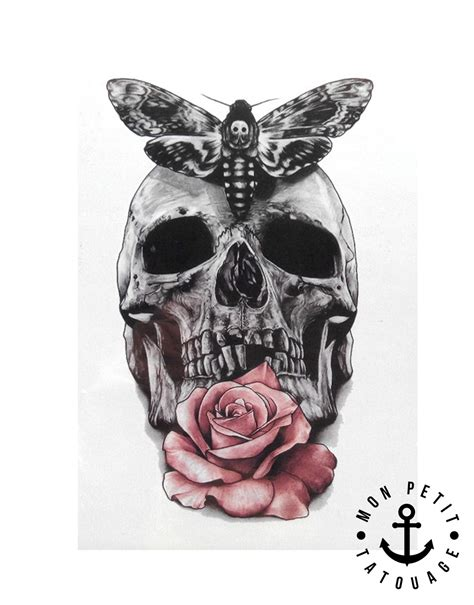 tatouage temporaire tete de mort rose  papillon mon