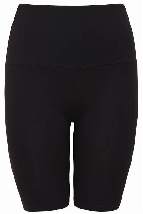 Black Tummy Control Soft Touch Legging Shorts Plus Size