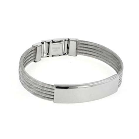 nautical bag mens stainless steel cable bangle id bracelet 8 inch