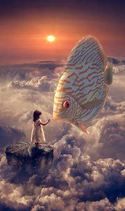 Fantasy Wallpapers Fantasy Girl Fish Clouds Sky iphone 8 ...
