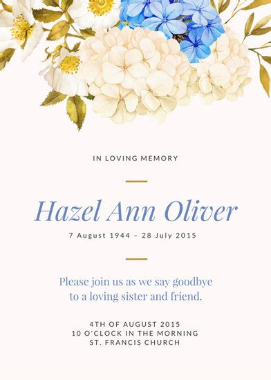 template card for funeral flowers customize 40 funeral invitation templates canva
