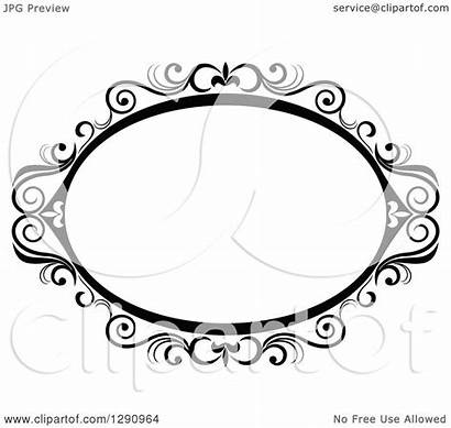 Oval Frame Swirl Ornate Clipart Vector Illustration