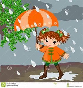 Girl and rain stock vector. Illustration of vector ...