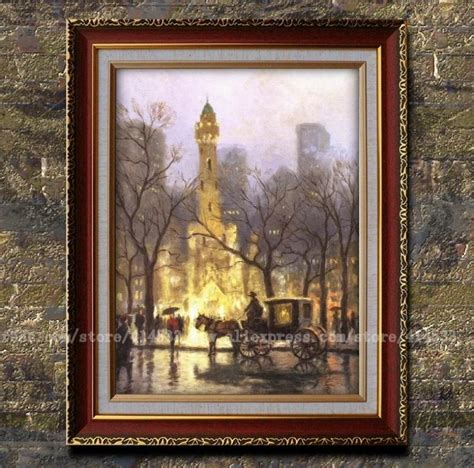 home interiors kinkade prints prints thomas kinkade oil painting the water tower chicago canvas print landscape painting home