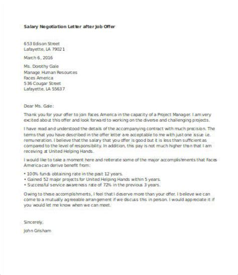 Salary Negotiation Email Template by Salary Negotiation Letter 4 Free Word Documents