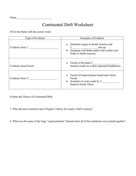 Continental Drift Worksheet Middle School Continental Best Free Printable Worksheets