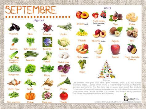 calendrier fruits et l 233 gumes septembre je cuisine en couleurs