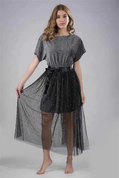 Pearl Grey Beaded Top With Black Lace Skirt Two Piece Set