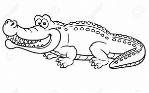 Crocodile clipart black and white - Pencil and in color ...