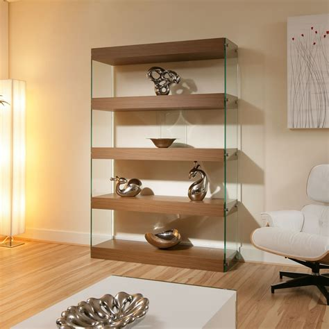 Display Cabinet Modern by Display Cabinet Shelving Unit Shelves Walnut Glass