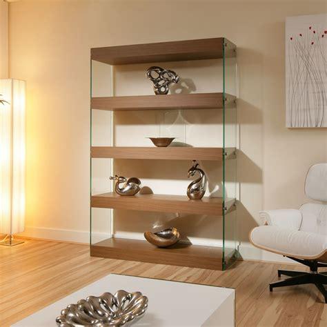 Display Cabinet  Shelving Unit  Shelves Walnut Glass