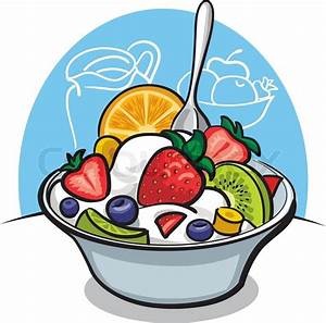 Fruit salad with yogurt and strawberry | Stock Vector ...