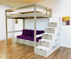 Lit Mezzanine Avec Escalier Tiroir by Lit Mezzanine Design Bi Couleur Taupe Blanc Escalier Cube