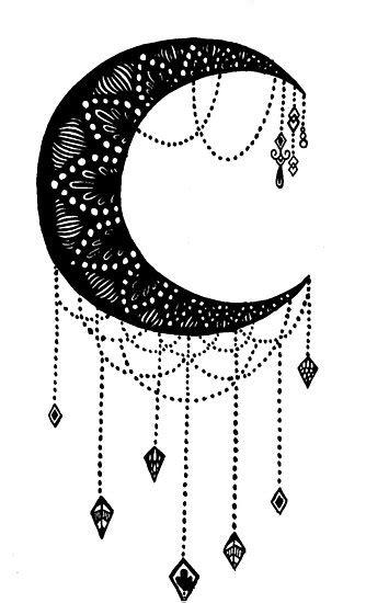 crescent moon tattoo design photographic print  daredraw redbubble