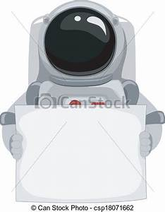 Clip Art Vector of Astronaut Blank Banner - Illustration ...