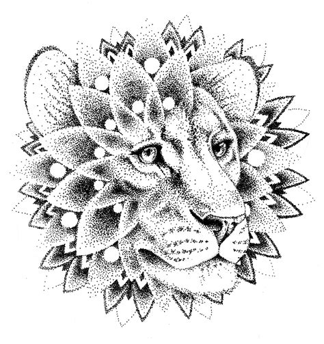 dotwork lion mandala tattoo design tatoo pinterest