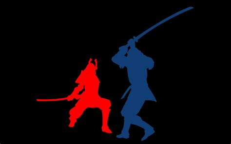 Blue Red Fight Samurai Battles Black Background 2458x1536