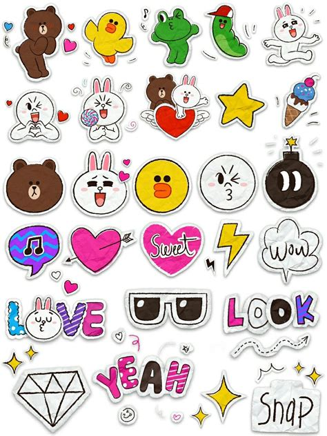 friend sticker printable linebrownconnycute