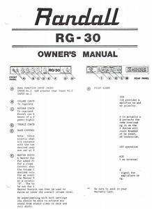 Randall Instruments Inc Owners Manual Schematic Rg