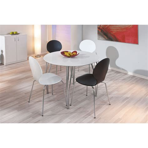 table ronde cuisine table ronde cellini 100 cm blanc métal 50700320 achat
