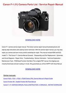 Canon F 1 F1 Camera Parts List Service Repair By Tennie
