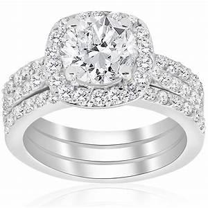 2 3 4ct cushion halo diamond engagement wedding ring set With 14k white gold diamond wedding ring
