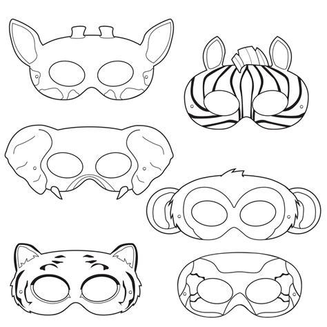 Jungle Animals Coloring Masks Monkey Mask Elephant Mask