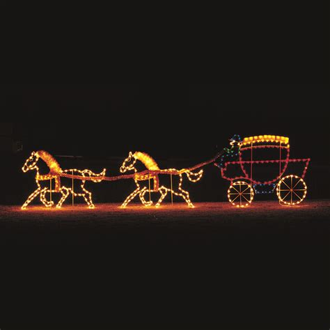 led victorian horses carriage light display 20 w