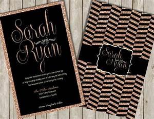 Glitter wedding invitations rose gold glitter invitations for Black white and rose gold wedding invitations