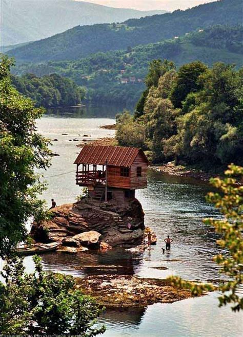 cabin wood cabins forest breathtaking source woods amazing fringed river summer drina houses stream cottage wooden pretty homes rocks nature