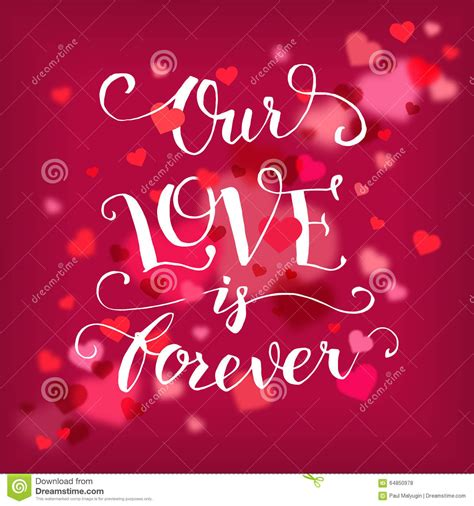 Our Love Is Forever Typography Card Stock Vector