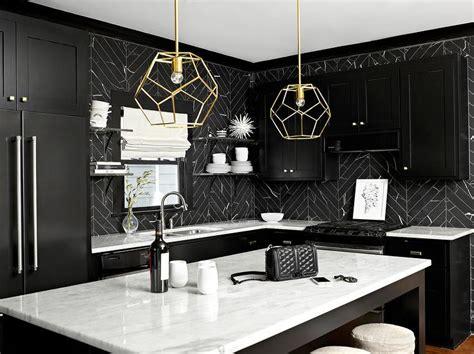 Black Backsplash Kitchen by Black And White Kitchen Design Ideas