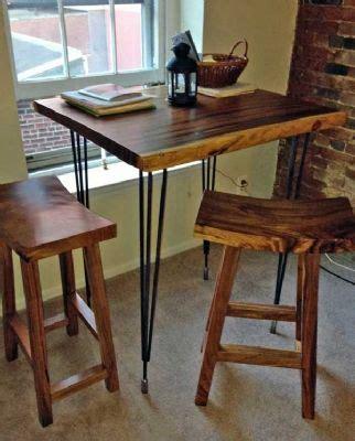 custom high bar dining table monkeypod wood top steel