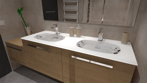cuisiniste barentin salle de bain bois beige blanc gris avec italienne