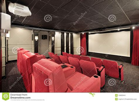 media room with home theater chairs stock photo