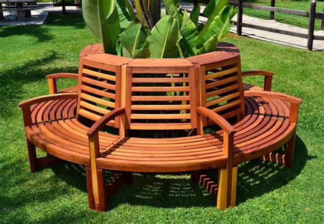 Benches : Redwood Outdoor Tree Bench, Custom Redwood Seating