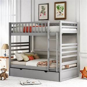 Enyopro, Trundle, Bunk, Beds, Detachable, Wood, Full, Bunk, Bed, Frame, With, Twin, Trundle, Wooden, Trundle