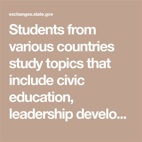 students   countries study topics  include