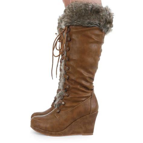 faux fur winter boots women high zip  faux fur