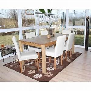 Lot de 6 chaises de salle a manger simili cuir blanc pieds for Salle À manger contemporaineavec lot chaises