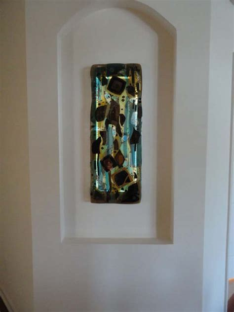Fused Glass Abstract Panel   Designer Glass Mosaics